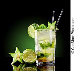 mojito, bevanda, sfondo nero