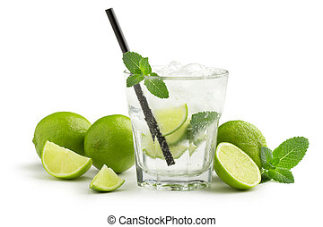 mojito cocktail and fresh ingredients on white background