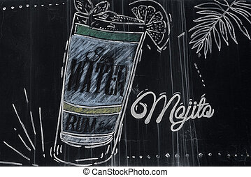 Mojito cocktail drawing with chalk on blackboard