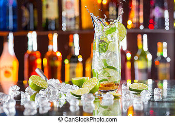 Mojito cocktail drink on bar counter - Mojito cocktail drink...