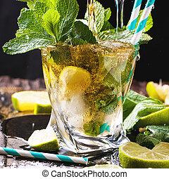 Pouring Mojito Pouring Fresh Mojito Cocktail In Glasses