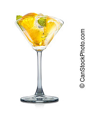 Mojito cocktail in martini glass isolated on white