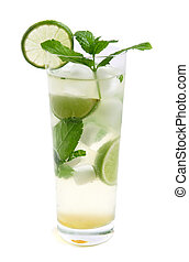 mojito cocktail in tall glass, white background