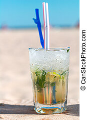 Mojito cocktail on a beach