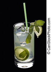 Mojito cocktail on a black background