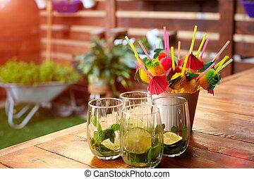 mojito, contatore, sbarra, cocktail