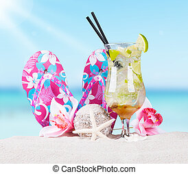 Summer concept - Mojito drink and summer accessories, Summer...