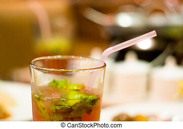 Mojito drink glass shot with shallow depth of field