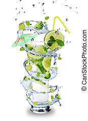 Mojito drink - Fresh mojito drink with splash spiral around...