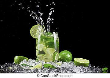 Mojito drink wish splash, isolated on black background