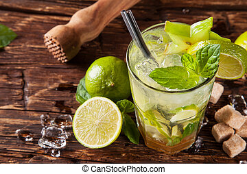 Mojito drinks on wood, upper view - Summer fresh cocktail...