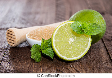 Mojito ingredients on wood