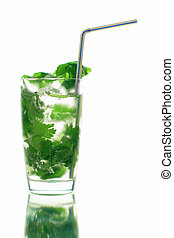 mojito long drink close up with ice and coriander, white background