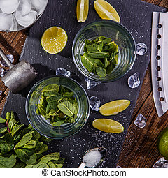 Mojito on black stone board