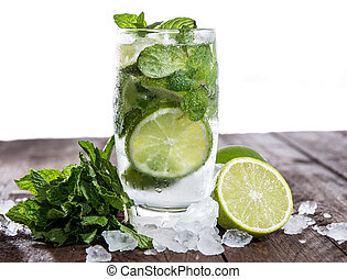 Mojito on wood against white