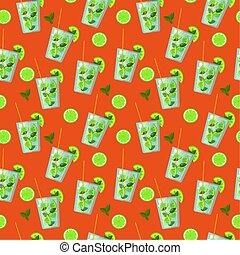 mojito, plat, pattern:, vecteur, style, seamless, cocktail, arrière-plan., orange, clair