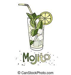 mojito - Hand drawn vector illustration of cocktail mojito