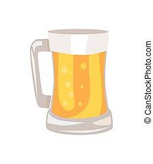 mok, licht, vrijstaand, illustratie, bier, vector