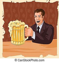 mok, man, bier, retro