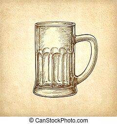 mok, papier, oud, bier, achtergrond