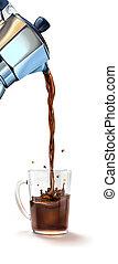 Moka coffee machine pouring coffee into a glass mug...
