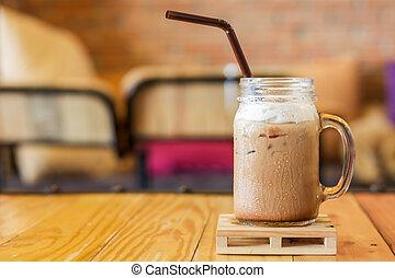 moka, mousse, caffe, lait, glacé