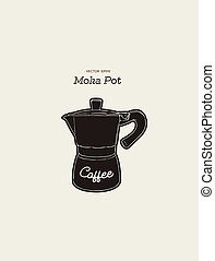 moka pot. coffee maker hand draw vector