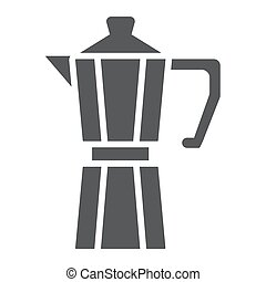 Moka pot glyph icon, coffee and cafe, coffeemaker sign vector graphics, a solid pattern on a white background, eps 10.