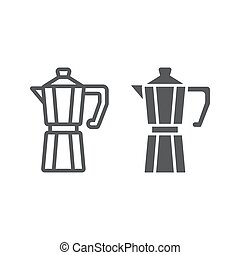 Moka pot line and glyph icon, coffee and cafe, coffeemaker sign vector graphics, a linear pattern on a white background, eps 10.