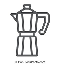 Moka pot line icon, coffee and cafe, coffeemaker sign vector graphics, a linear pattern on a white background, eps 10.