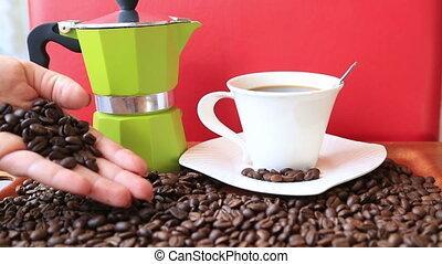 Moka pot retro with coffee beans
