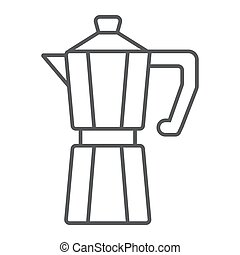 Moka pot thin line icon, coffee and cafe, coffeemaker sign vector graphics, a linear pattern on a white background, eps 10.