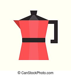 Moka pot vector, coffee related flat style icon