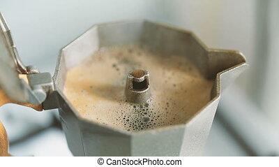 moka pot - close cover moka pot. invigorating morning coffee...