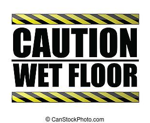 mokry, ostrożność, podłoga
