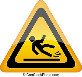 mokry, ostrzeżenie znaczą, podłoga