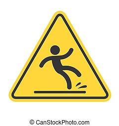 mokry, znak, podłoga