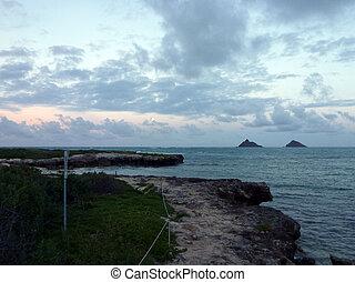 mokulua, costa, de, plano, hawaii., na, encima, cuelga,...