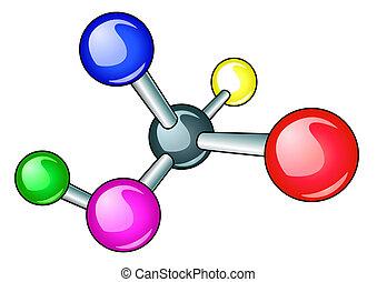 molécula, aislado, electrón, brillante