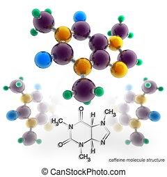 molécula, cafeína, estrutura