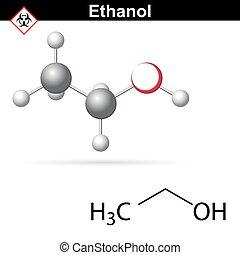 moléculaire, éthanol, structure
