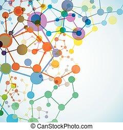 moléculaire, fond, multicolore