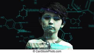 moléculaire, garçon, contre, données, structures, traitement, jeune