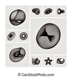 moléculaire, illustration., résumé, illustration, consister, forme, vecteur, grille, points., design., géométrique, grid., technologie, style., 3d