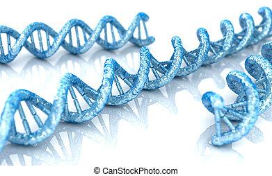molécule, fond, biochimie, 3d, adn, blanc, illustration, concept