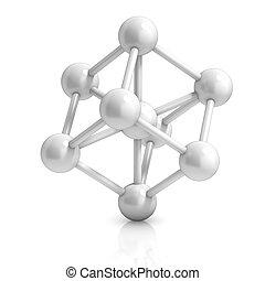 molécule, icône, 3d