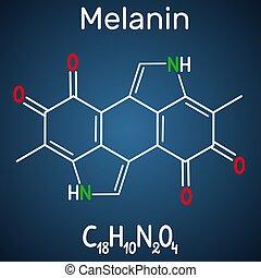 molécule, melanin, formule, molecule., fond, structural, ...