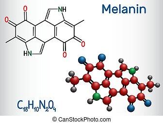 molécule, melanin, formule, molecule., structural, modèle, chimique