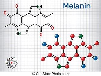 molécule, papier, melanin, formule, molecule., structural, ...