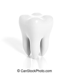 molar, dente, isolado, branco, fundo